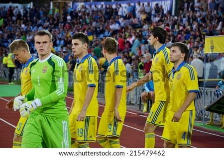 CHERKASSY, UKRAINE - SEP 4: Football team of Ukraine out on the field during the qualifying match national teams between Ukraine U21 2-0 Switzerland U21, 4 September 2014, Cherkassy, Ukraine