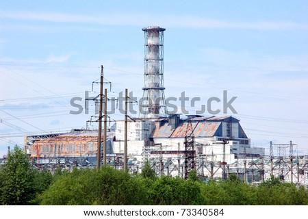 Chernobyl atomic power station, 25 years after catastrophe, reactor 4, Pripyat, Ukraine, june 2010 - stock photo