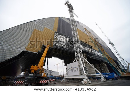 CHERNOBYL, UKRAINE - APRIL 07: A general view of the construction of a new protective shelter which will be placed over the remains of the nuclear reactor Unit 4 of Chernobyl nuclear power plant.