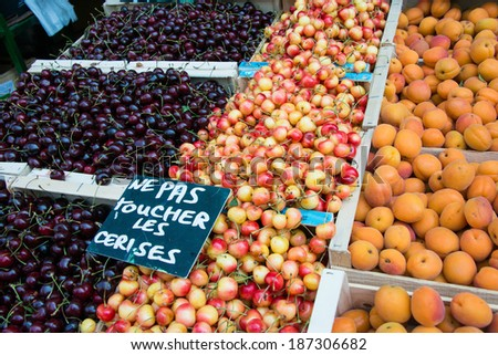 Cherries and appricots in market