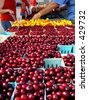 Cherries at a farmers' market - stock photo