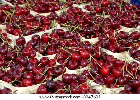 Cherries at a greengrocer