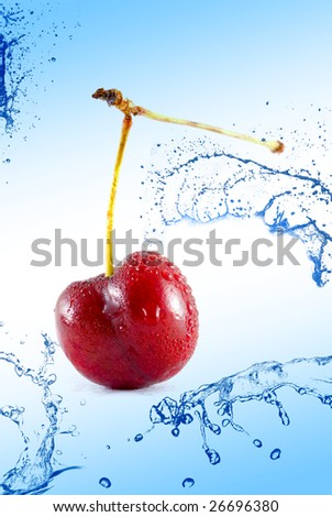 cherries dropped into water