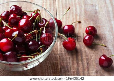 Cherries in a glass bowl on the wooden table