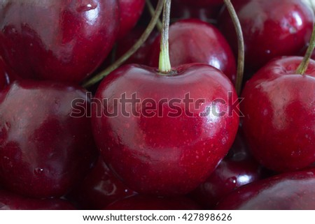 cherries in macro