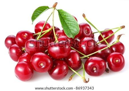 Cherries. Isolated on a white background. - stock photo