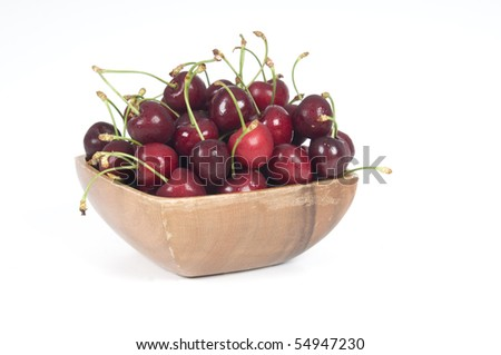Cherries; objects on white background - stock photo