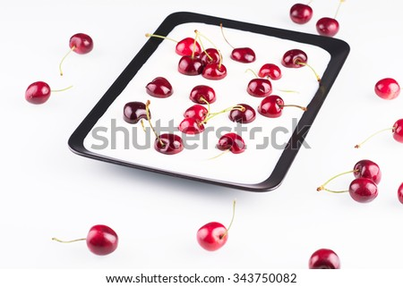 Cherries sunk in milk with fresh cherries around the plate
