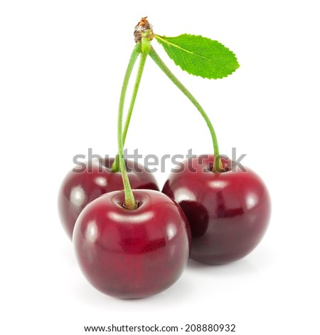 Cherries with leaf isolated on white background