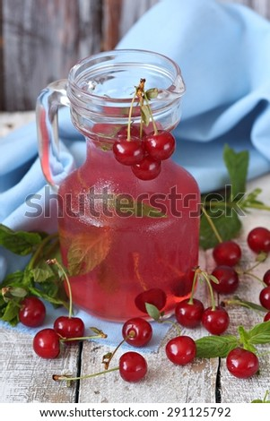 Cherry and cold sweet drink  - stock photo