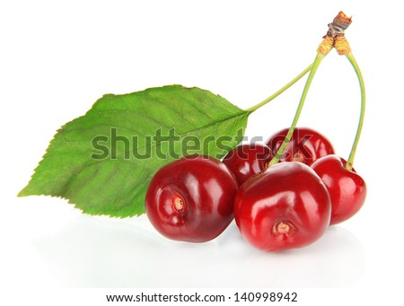Cherry berries isolated on white - stock photo