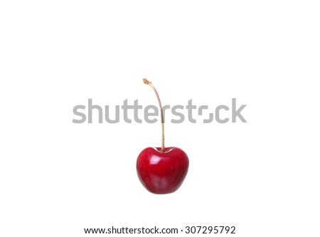 cherry berries isolated on white background cutou - stock photo