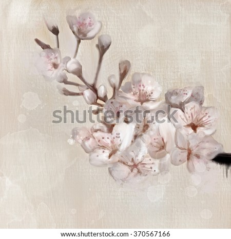 Cherry blossom branch - Oil painting - stock photo