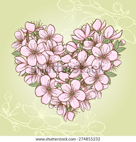 Cherry blossom in the shape of heart. Decorative floral illustration of sakura flowers - stock photo
