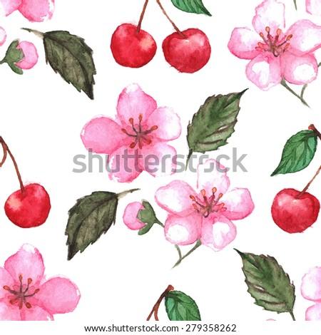 Cherry blossom sakura berries seamless pattern texture background - stock photo