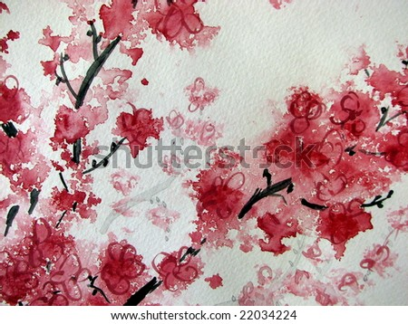 Cherry Blossom watercolor on paper - stock photo