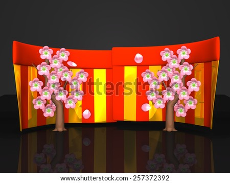 Cherry Blossoms And Red-Gold Curtains On Black Background. 3D render illustration. Spring Image.