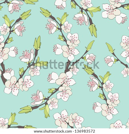 Cherry branch in blossom. Seamless texture. - stock photo
