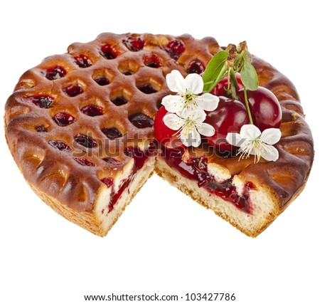 Cherry cake pie isolated on white background - stock photo