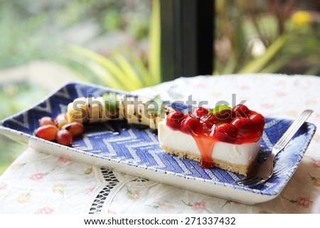 cherry cheese cake  - stock photo