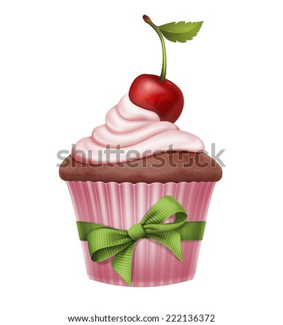 cherry cupcake with green bow, illustration isolated on white - stock photo