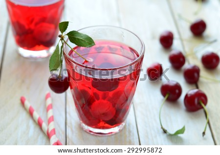 Cherry drink, selective focus