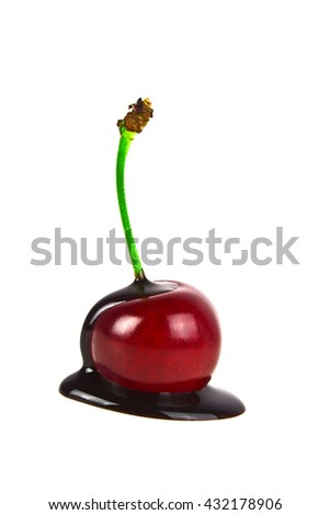 Cherry in chocolate on a white background - stock photo