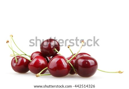 Cherry isolated on white background. - stock photo