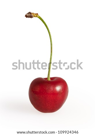 Cherry isolated on white background with clipping path - stock photo