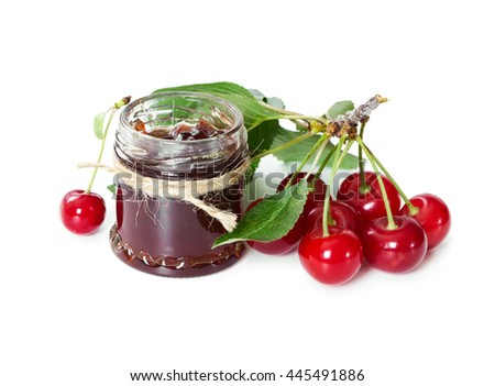 Cherry jam in glass jar isolated on white background. - stock photo