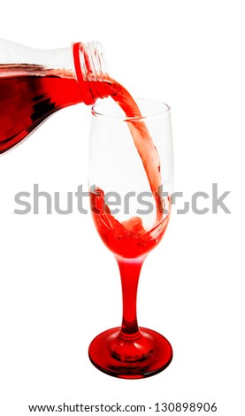Cherry juice pouring isolated on white