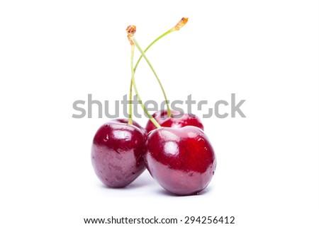 Cherry on a white background - stock photo