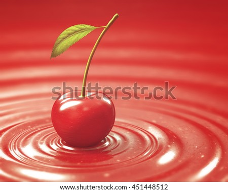 Cherry on cherry jam. Clipping path included. - stock photo
