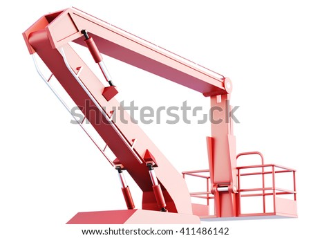 Cherry picker work bucket platform and hydraulic construction. 3d rendering. - stock photo