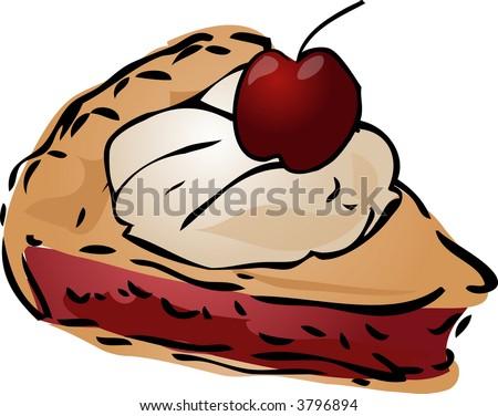 Cherry Pie ala mode, hand drawn retro illustration - stock photo