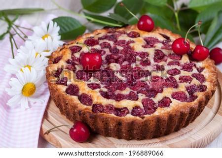 Cherry pie close-up - stock photo