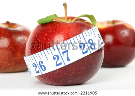 Cherry red summer apples isolated on white, macro close up with copy space - stock photo