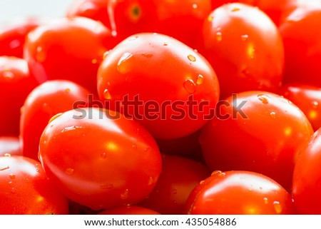 Cherry red tomatoes. Cherry  tomato is a rounded, small fruited tomato thought to be an intermediate genetic admixture between wild currant-type tomatoes and domesticated garden tomatoes - stock photo