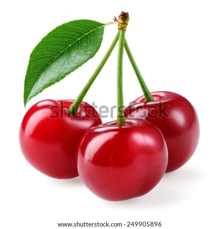 Cherry. Three berries isolated on white background - stock photo
