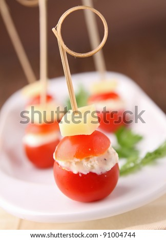 cherry tomato with cheese - stock photo