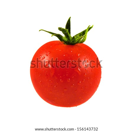 Cherry Tomato with water drops isolated on white background. Ripe red mini tomato. Natural vegetable.