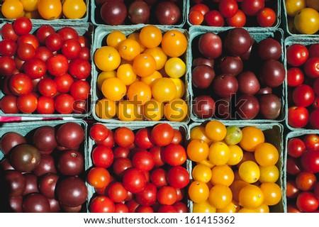 Cherry tomatoes at a farmer's market - stock photo