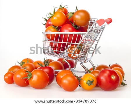 Cherry tomatoes in the cart for purchases