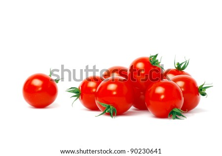 Cherry tomatoes isolated on white - stock photo