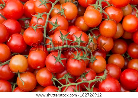 Cherry tomatoes on a market