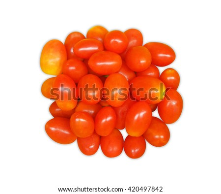 Cherry tomatoes Top View isolated on white background         - stock photo