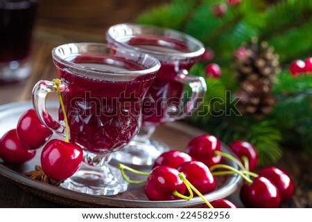 Cherry wine - stock photo