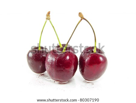cherrys on white - stock photo