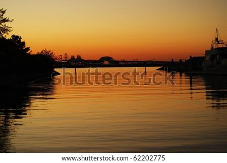 Chesapeake Bay Bridge through the Canal - stock photo