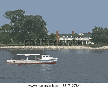 "Chesapeake bay Scene/A Chesapeake Bay Waterman catching crabs on a traditional ""Deadrise"" style boat, with a waterfront mansion in the background, rendered as a jpg illustration."